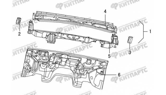 Панель стеклоочистителя моторного отсека Great Wall Hover H5